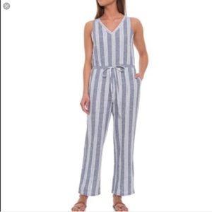 DREW L blue cream linen jumpsuit tie front & back